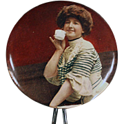 Vintage, Celluloid, Handheld Mirror with Woman Sipping Tea