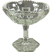 Vintage Glass Compote Dish - Greek Key Design