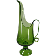 Decorative, Green Glass Ewer - Classic Vintage Form