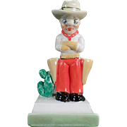 Vintage Toothbrush Holder - Grumpy Cowboy with Large Holsters