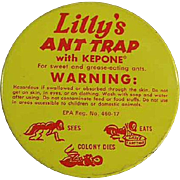 Vintage Tin - Lilly's Ant Trap - Fun, Dead Bug Graphics