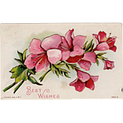 Vintage Floral Postcard with Embossed Design - Best Wishes