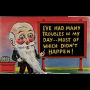 Vintage, Humorous Postcard with Comical Man