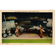 Vintage Postcard with WWII Airplanes- Night Training