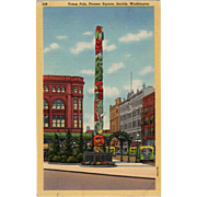 Vintage Postcard - Seattle's Totem Pole in Pioneer Square