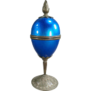 Vintage, Pedestal Egg by Evans - Beautiful Blue Enameled Guilloche
