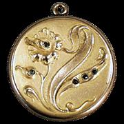 Vintage Picture Locket with Art Nouveau, Floral Design & Stones