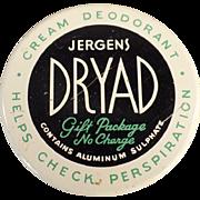 Vintage, Jergens Dryad, Deodorant Jar