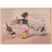 Vintage Trade Card - Moffitt's - Cute Thanksgiving Scene