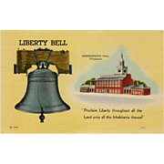 Vintage, Patriotic Postcard - The Liberty Bell & Independence Hall