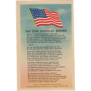 Vintage, Patriotic Postcard - The Star Spangled Banner