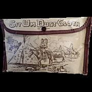 Unusual, Vintage Git-Um Dust Cloth Pouch with Indian Motif