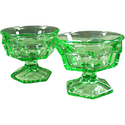Vintage Ice Cream or Sherbet Dishes - Heavy Green Glass, Pair