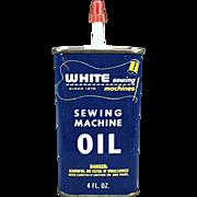 Vintage, Advertising Oil Tin - White Sewing Machine