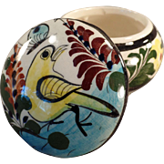 Mexican Pottery Covered Dresser Jar with Colorful Bird Design