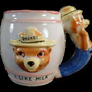 Old, Smokey the Bear, I Like Milk Mug with Figural Handle
