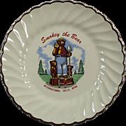 Vintage, Smokey the Bear Souvenir Plate - International Falls
