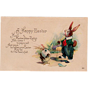 Vintage Postcard with Dressed Easter Rabbit and Little Chick