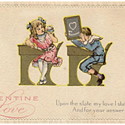 Vintage, Valentine Postcard with School Children at Desks