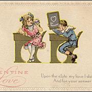 Vintage, Valentine Postcard with School Children at Desks
