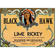 Vintage, Soda Pop Bottle Label - Black Hawk