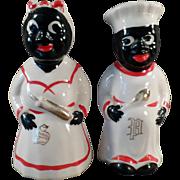 Vintage, Hand Painted, Black Mammy & Chef Salt & Pepper Set -Gold Trim