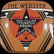 Vintage Ribbon Tin -  Webster Typewriter Ribbon - Small Size
