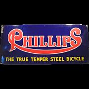 Vintage Porcelain Sign Advertising Phillips Bicycles - Rich Colors, Large Size