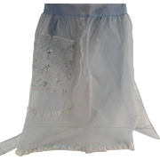 Sheer, Baby Blue, Vintage Half Apron with Lace & Decorative Pocket