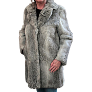 Ladies, Vintage Rabbit Fur Coat - Pretty Silver Colored