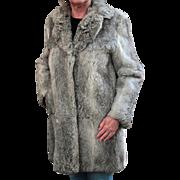Ladies, Vintage Rabbit Fur Coat - Pretty Silver Colored