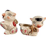 Vintage Pottery Lambs - Cream & Sugar Set with Decals and Gold Accents