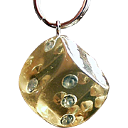 Vintage Key Ring - Large, Lucite and Rhinestone Die