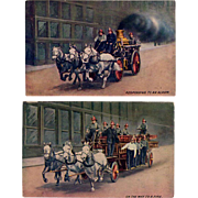 Two Vintage Postcards - Horse Drawn Fire Vehicles