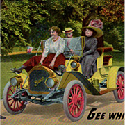 Vintage Postcard - Old Buick Touring Car Photo - Humorous Advertising