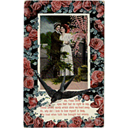 Vintage Postcard with Lovelorn Poem and Roses