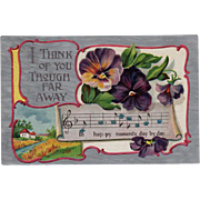 Vintage Postcard - Thinking of You with Pansies