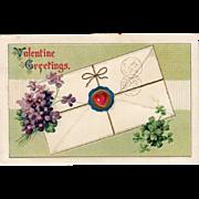 Vintage Valentine Postcard with Violets & Shamrocks