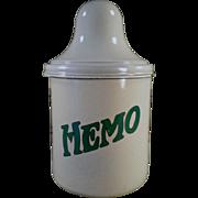 Vintage, Thompson's Hemo, Porcelain Malt Canister with Lid