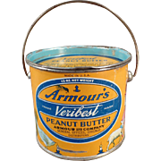 Vintage, Armour's Peanut Butter Tin - 12oz. Pail - Nursery Rhyme Graphics - Look for Some Fu