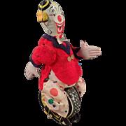 Vintage, T.P.S. Wind-up Toy - Clown Unicyclist - Skippy