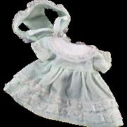 Vintage Doll Dress - Sweet Dotted Swiss Dress & Bonnet