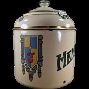 Vintage, Porcelain Malt Canister - Thompson's Hemo with Hinged Lid