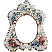 Vintage, Micro Mosaic Frame with Floral Design & Pretty Shape