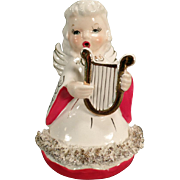 Vintage Christmas Angel Playing a Golden Lyre