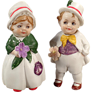 Vintage, All Bisque Boy and Girl, Hand Painted German Nodders