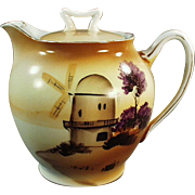 Vintage Porcelain Teapot with Hand Painted Windmill Scene