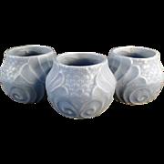 Vintage Pottery Planter - Three Section - Blue Glaze