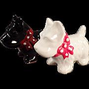 Vintage Salt & Pepper Set - Black & White Scotty Dogs