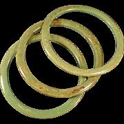 Vintage Bangle Bracelet Set - Three Pieces - Mottled Green